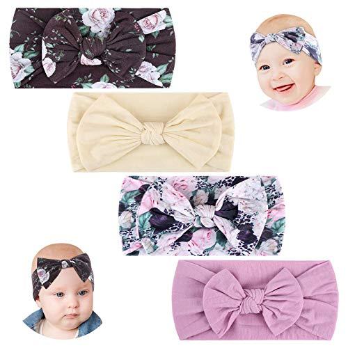 Makone Baby Stirnband, Stretchy Strick Haarband mit Schleifen 5,5 Zoll große Haarschleife Stirnband für Kleinkinder Baby