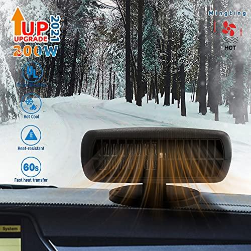 Mingting Car Fan Heater, 12 V 200 W Car Heater and Cooling Fan 2-in-1 Portable Windscreen Defroster Demister