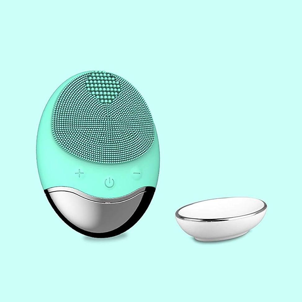 ミキサー離す別々にZXF 新しいアップグレードワイヤレス充電電気家庭用竹炭シリコーン防水超音波洗浄毛穴洗浄器具洗浄器具輸入器具 滑らかである (色 : Green)