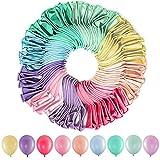 【Palloncino di Colori Macaron】: 9 palloncini di diversi colori, ci sono palloncini blu chiaro, gialli, rosa, lilla, verde menta, verde chiaro, pesca, rosso, arancione, totale 100 pezzi, puoi usarli per creare un bellissimo arco di palloncini arcobale...