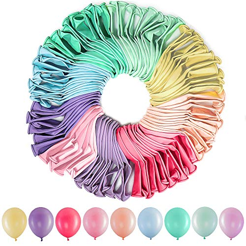 HiQuaty Palloncini Colorati in Lattice Pastello, 100 Pezzi Palloncino di Colori Assortiti per Anniversari di Compleanno Matrimoni Feste di Natale