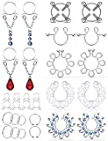 Ftovosyo 11Pairs Fake Nipple Rings Piercings Clip On Faux Nipple Ring Stainless Steel Non-Piercing Nipple Jewelry for Women Non Pierced No Pierce Nipple Clamps Silver-Tone