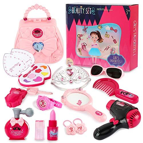 Jaolex Princess Makeup Set- 12 PCS Pretend Purse Make Up Kit for Girls My First Princess Beauty Set Toddles Dress Up Toy with Crown, Mirror, Hairdryer, Lipstick and Suitcase