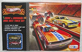 Hot Wheels SNAKE & MONGOOSE Drag Race Track Set Orange Strip and 1:64 Scale Die Cast Cars by Mattel