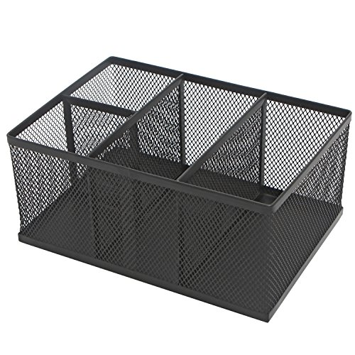 Modern Rectangular Black Metal Mesh 4 Compartment Office Supplies Storage Organizer Caddy Rack - MyGift