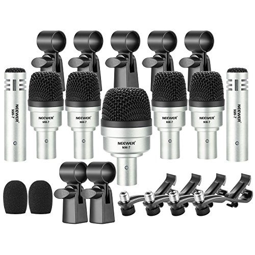 Neewer 7 Piece Wired Dynamic Drum Mic Kit - Kick Bass, Tom/Snare & Cymbals Microphone Set - for Drums, Vocal, Other Instrument - Complete with Thread Clip, Inserts, Mics Holder & Case(NW-7)
