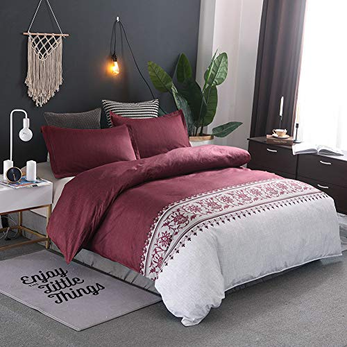mixinni 3 Piece Burgundy Duvet Cover Set King Hotel Quality Solid Bedding Set with 1 Floral Pattern Duvet Cover 2 Pillowcases Modern Style Perfect for Him and Her- (3pcs, King Size)