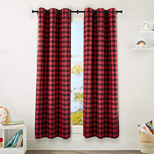 "Amazon Basics Kids Room Darkening Blackout Window Curtain Set with Grommets - 42"" x 84"", Red Buffalo Plaid"