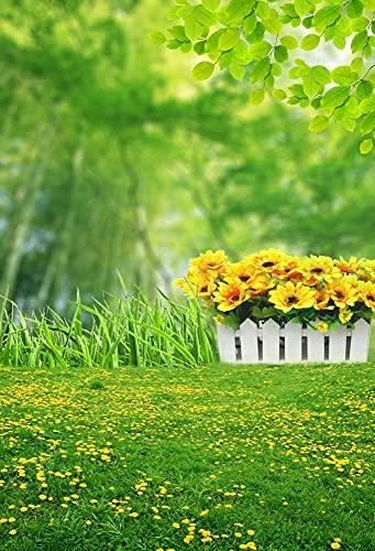 Flores de Primavera césped Verde césped Bosque jardín Fondos para fotografía niño Ducha Foto telón de Fondo Estudio fotográfico A18 10x10ft / 3x3m