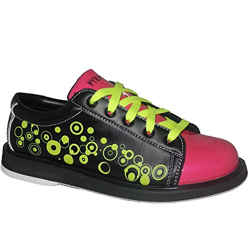 Pyramid Youth Rain Black/Hot Pink/Lime Green Bowling Shoes (1 Youth)