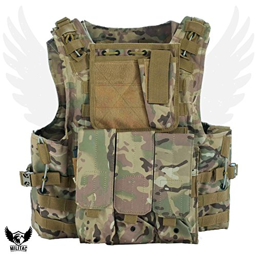 Militac - Chaleco táctico Delta,perfecto para airsoft, asalto, combate; incluye bolsillos portacargadores