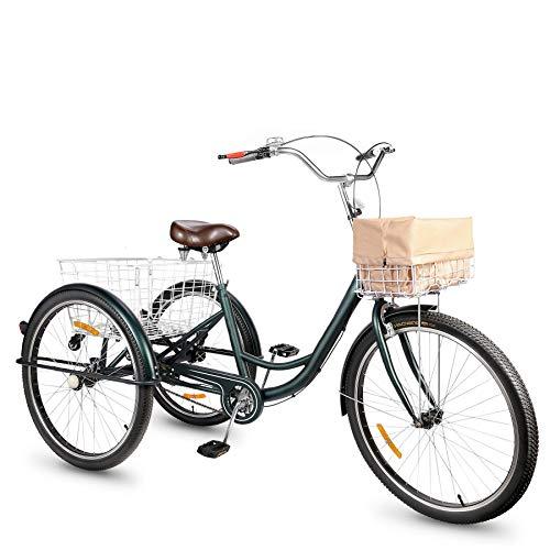 Viribus Dreirad für Erwachsene Dreirad 26 Zoll Fahrrad mit Korb 3 Rad Fahrrad für Erwachsene Adult Tricycle 3-Rad-Dreirad (Grün)