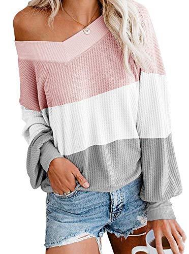 ZIYYOOHY Damen Pullover Sweatshirts V Ausschnitt Schulterfrei Bluse Oberteile Oversized Top (M, Streifen-Pink)