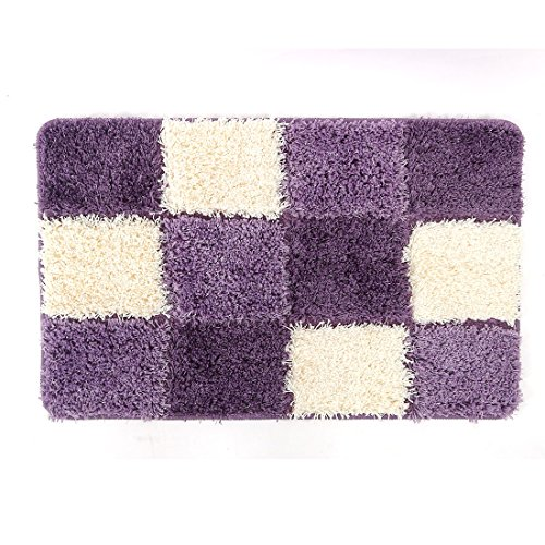 uxcell Non-Slip Soft Rugs Microfiber Absorbent Decorative Bath Mats Purple (32 x 20 x 1.18 Inch)