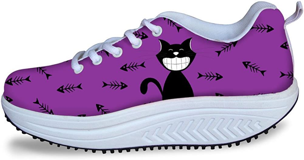 FOR U DESIGNS Cartoon Cat Woman Casual Shoes Breathable Lace-up