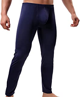 QiaTi Men's Tight Long Underwear Sexy Long Pants Sexy Tight Underwear Soft Compression Underwear for Men Long Leggings Pants