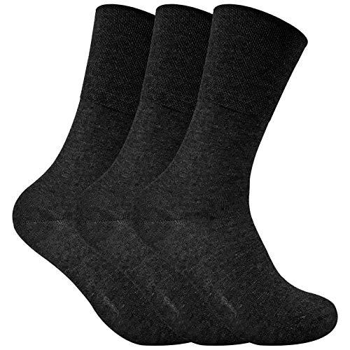 sock snob 3er pack damen dünn extra weit diabetikersocken antibakteriell ohne gummi thermosocken für diabetiker in 4 farben (37-42 eur, THRDIAL05)