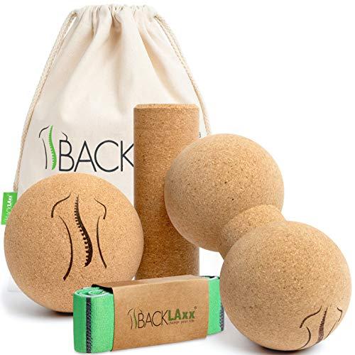 BACKLAxx® Faszienrolle Set aus Kork - Faszienball, Korkrolle klein, Duoball ideal für Faszien, Rücken und Wirbelsäule - inkl. Anwendungsvideos