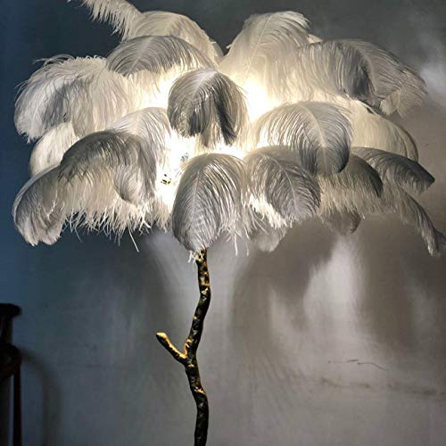Lámpara de noche con plumas de avestruz, moderna luz de cobre, para el suelo, el salón, el hotel, la iluminación del suelo