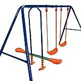 BAKAJI Altalena da Giardino per Bambini Dondolo 4 Posti con Cavalluccio per Uso Esterno, Struttura Robusta in Acciaio Verniciato Blu,