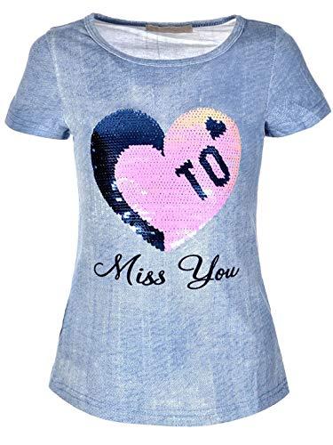 30286 - Camiseta para niña con lentejuelas reversibles azul claro 9 años