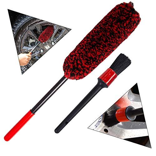 bzczh Car Wheel Brush and Detail Brush Kit - Synthetic Wool...