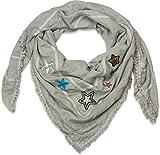 styleBREAKER pañuelo cuadrado XXL con parches de estrella decorados con lentejuelas, estrás y perlas de bisutería, deshilachados en los bajos, chal, pañuelo, de señora 01016131, color:Gris-claro