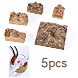 Finelnno 5pcs Wood Mountain Resin Mold Peak Silicone Molds Teak Epoxy Mold Square UV Casting Mold Landscape Jewelry Mold for DIY Pendant Ring Keychain Crafts