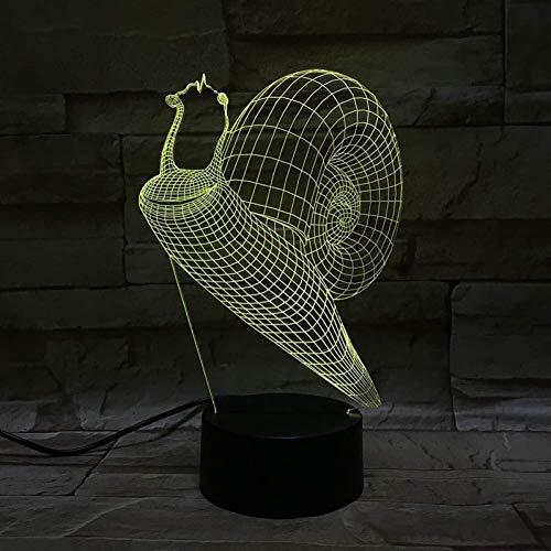 YWAWJ 3D-Schnecke Nachtlicht-LED Noten-Schalter-Dekor-Tabellen-Schreibtisch-Täuschungs-Lampen 7 Farben-ändernde Lichter LED Nachtschreibtischlampe