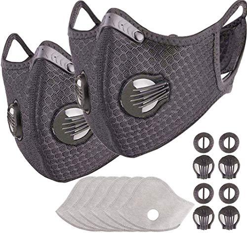 2 Pcs Unisex Reusable Dustproof Face Shield Suitable Activated Carbon Filter for Outdoor Sports