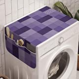 Ambesonne Abstract Washing Machine Organizer, Plaid Print Stripe Details a Monochrome Layout, Anti-slip Fabric Top Cover for Washer and Dryer, 47' x 18.5', Purple Quartz