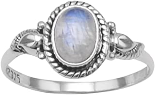 Rainbow Moonstone Ring with Rope and Leaf Design Sterling Silver