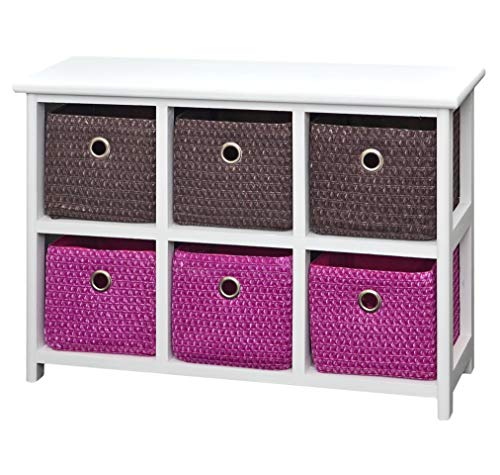 Kommode Nachttisch Sideboard Schrank 62 x 43 cm Bad Regal Weiß mit 2 x 3 Bunte Körbe für Kinderzimmer, Büro, Bad, Flur und Babyzimmer