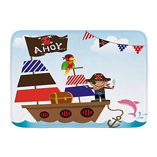 XWJZXS Alfombrillas Antideslizantes para baño, Divertido Estampado de Barco Pirata en el océano, Absorbente Alfombrilla para baño Alfombra Felpudo Alfombrilla para la Entrada de la Cocina Alfombrilla