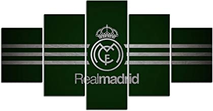 Cuadro decoración arte pared salon abstractos hogar Moderno - Impresión da lienzo 5 Piezas XXL - Real Madrid Club de Fútbol - Mural no Tejido Impresión Artística Imagen Gráfica B-D-1603,2,150x80cm