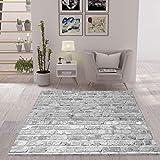 VIMODA Teppich Stein Optik Mauer Strapazierfähig in Grau, Maße:40 x 60 cm
