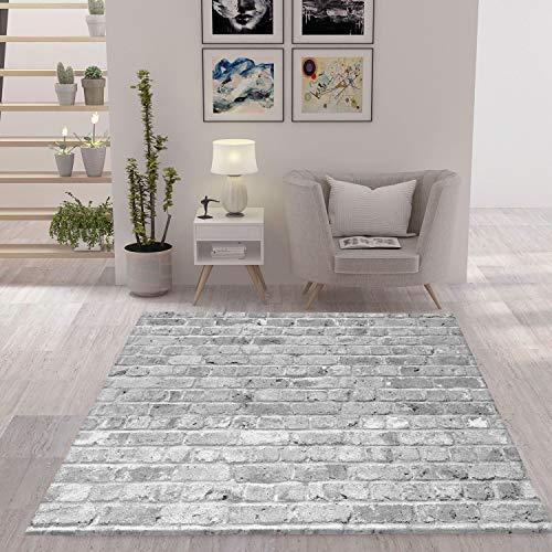 VIMODA Teppich Stein Optik Mauer Strapazierfähig in Grau, Maße:120 x 170 cm