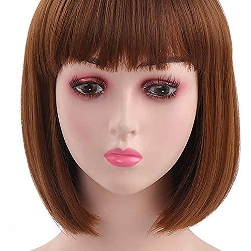 HTDYLHH Hermosas pelucas, pelucas de pelo corto Bob para mujeres, pelucas marrones con flequillo peluca sintética recta natural como pelo real, 30,5 cm para cosplay fiesta uso diario