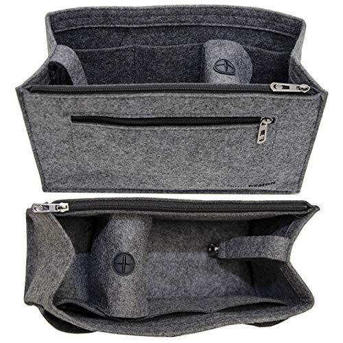 DuneDesign Bolso Organizador 30x12x17cm Bolso Adicional Fieltro Talla L Bolsillo Interior Gris