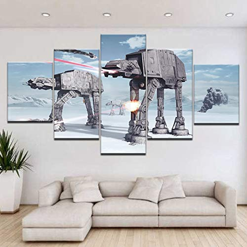 Fotobehang met 5 panelen, HD-print, fotobehang, vlecht op canvas, schilderkunst, decoratie, voor familie en woonkamer L-30x40 30x60 30x80cm Geen lijst