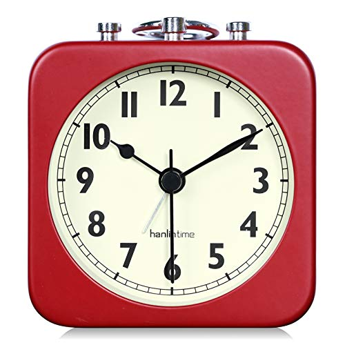 Lafocuse 8.5x8.5cm Mini Despertador Cuadrado Metal Rojo Analógico Viaje Reloj de Mesa Portátil Clasico Silencioso para Mesilla Dormitorio