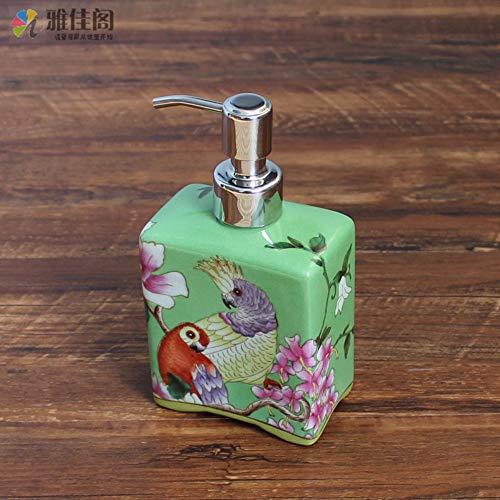 Dispensador De Jabón,Colorido Cerámica Vintage Original Diseño Retro Pintura Mano Orientales Pájaro...