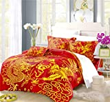 REALIN Traditional Dragon and Phoenix Duvet Cover Set Chinese Style Bedding Auspicious Bed Sets 2/3/4PCS Quilt Covers/Sheets/Pillow Shams,Twin/Full/Queen/King (A,Full-200x229cm-3PCS)