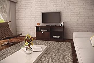 Ditalia Wooden TV Cabinet With One Drawer and Two Compartments, Dark Brown