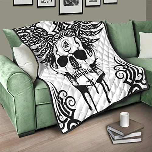 Flowerhome Wikinger Odin Totenkopf Tagesdecke Steppdecke Bettdecke Bettüberwurf Sofadecke Couchdecke Schlafdecke TV Decke für Erwachsene Kinder White 180x200cm