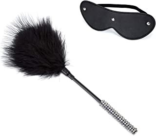 ENGOOL Toys Leather Blindfold Tickler Feather Cosplay Toys