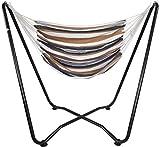 AMANKA Hängesessel mit Gestell bis 150 kg - 155cm Metall Hängestuhl Ständer - Kinder und Erwachsene