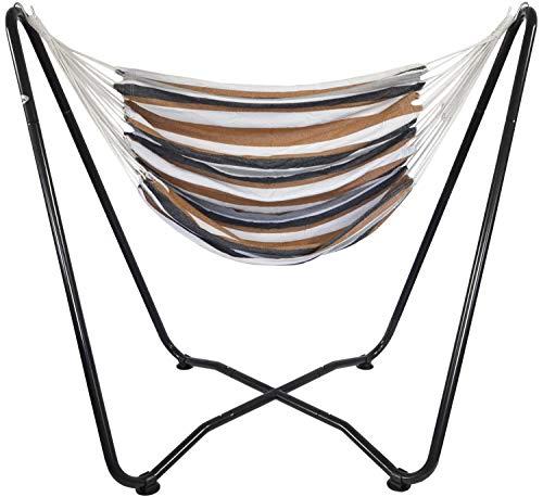 AMANKA Set Support en Acier 175x100x155cm INCL Hamac en Coton pour s'asseoir s'allonger Max 150kg à Rayures Marron et Beige