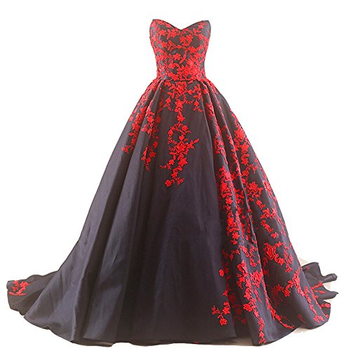 Kivary Gothic Black Satin and Red Lace A Line Long Prom Wedding Dresses Plus Size US 20W (Apparel)