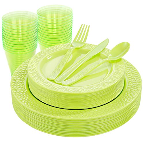 Nervure 150pcs Green Plastic Plates with Green Hammered Silverware include 25Dinner Plates, 25Dessert Plates, 25Knives, 25Forks, 25Spoons & 25Cups for Spring Picnic & Parties